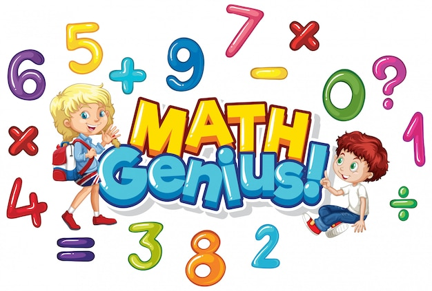Font design for word math genius with happy kids