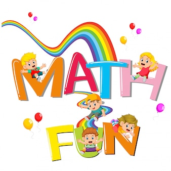Font design for word math is fun with kids sliding on the rainbow