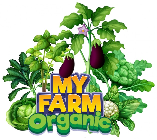 Font design for word my farm with different types of vegetables