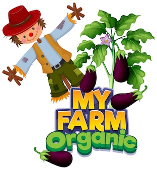 Font design for word my farm with eggplants and scarecrow