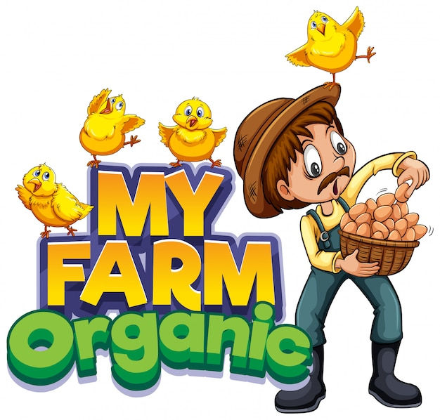 Font design for word my farm with farmer and chickens