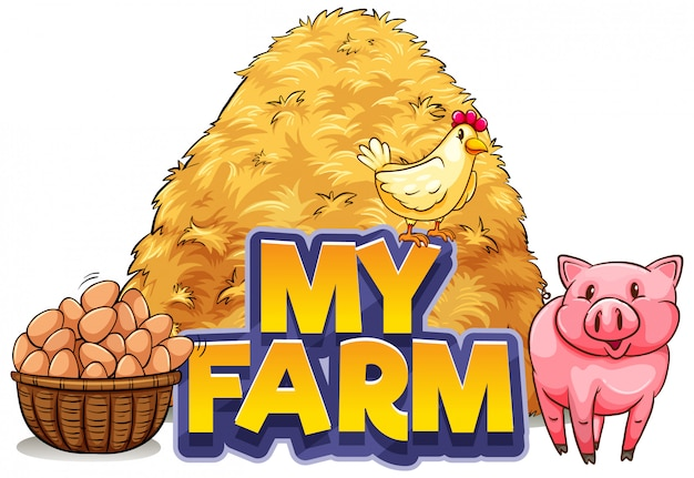 Font design for word my farm with pig and chicken