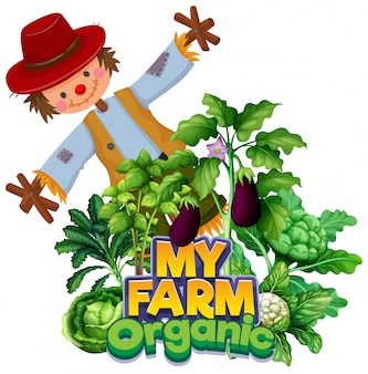 Font design for word my farm with scarecrow and vegetables