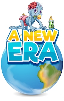 Font design for word a new era with zombie on earth