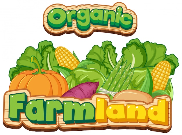 Font design for word organic farmland with many fresh vegetables