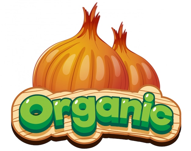 Font design for word organic with fresh onion