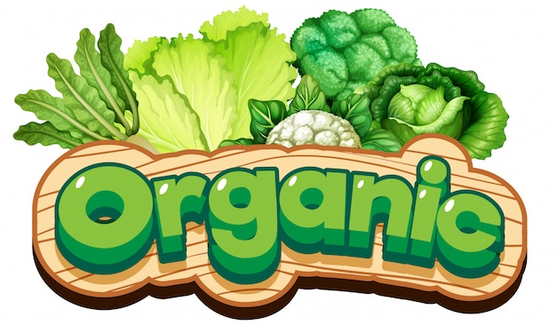 Font design for word organic with fresh vegetables