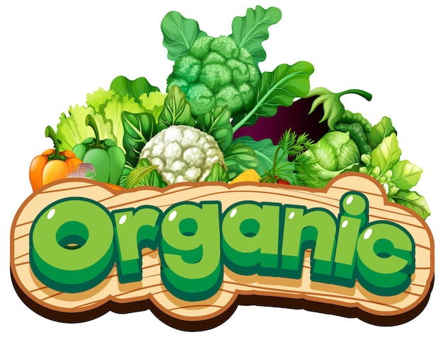 Font design for word organic with many vegetables
