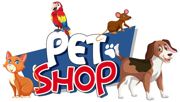 Font design for word pet shop with many animals