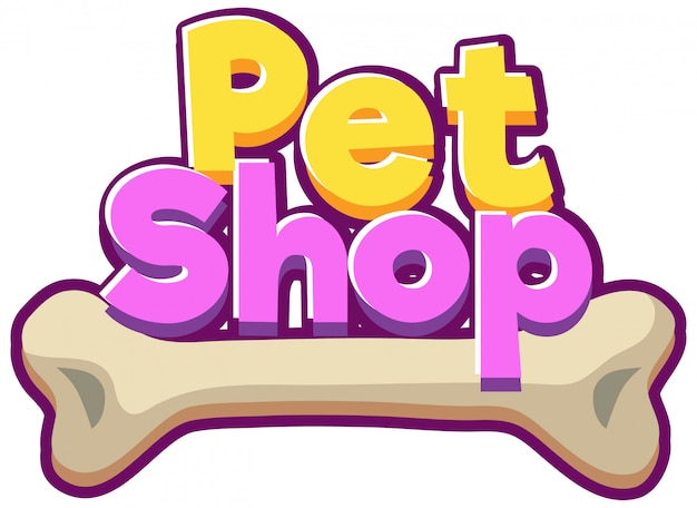 Font design for word pet shop
