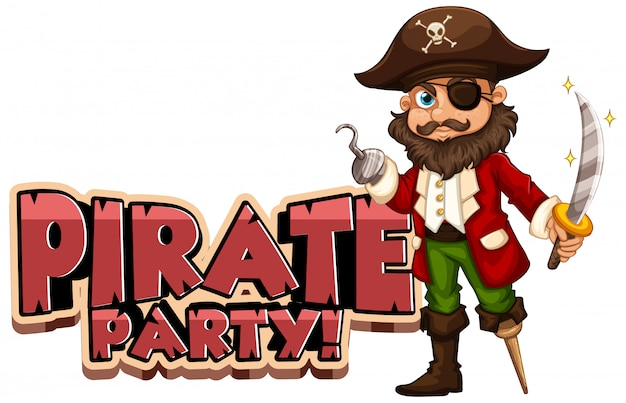 Font design for word pirate party with captain