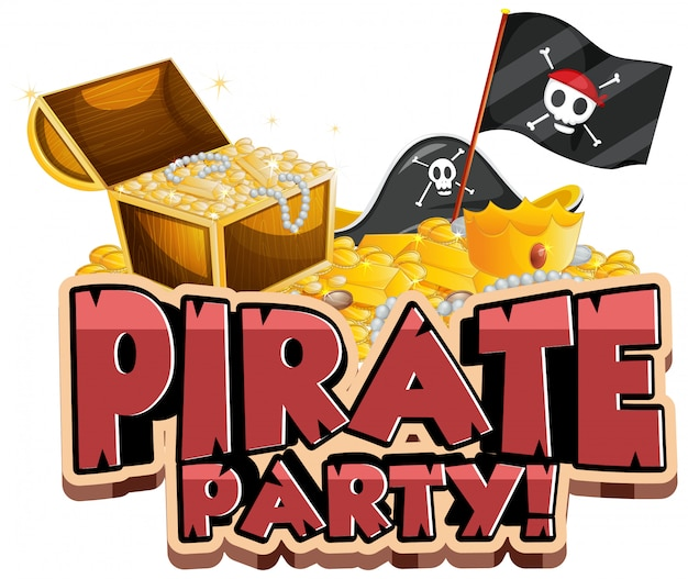 Font design for word pirate party with flag and gold