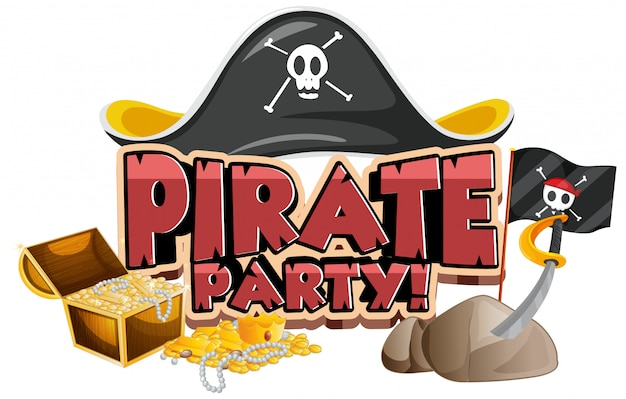 Font design for word pirate party with hat and gold