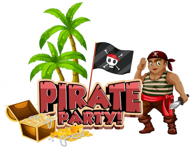 Font design for word pirate party with pirate and gold
