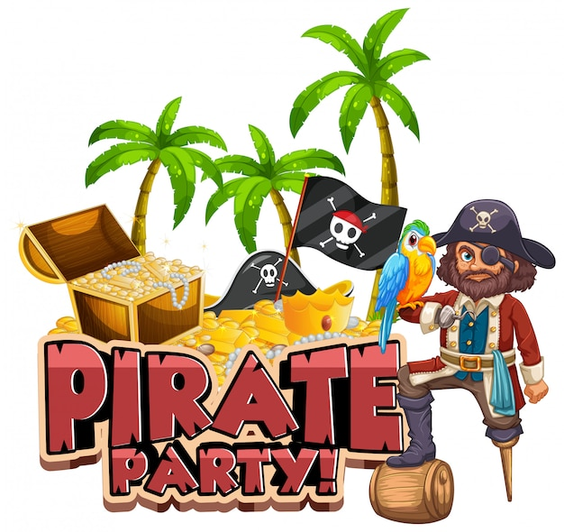 Font design for word pirate party with pirate and treasure hunt