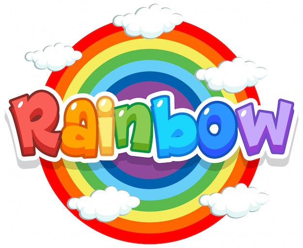 Font design for word rainbow with rainbow in the sky background