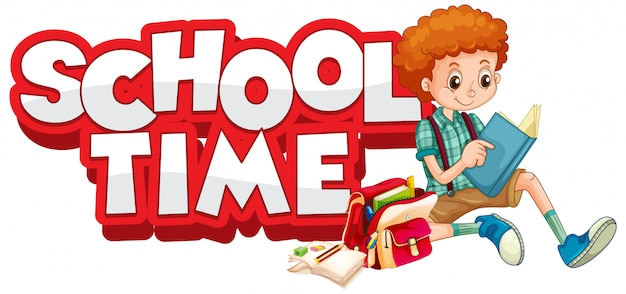 Font design for word school time with happy kids
