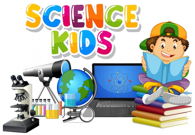 Font design for word science kids with boy reading book in background