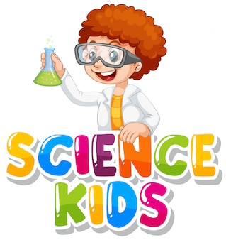 Font design for word science kids with boy in science gown