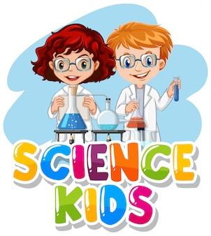 Progettazione di caratteri per bambini di scienza di parola con bambino in laboratorio