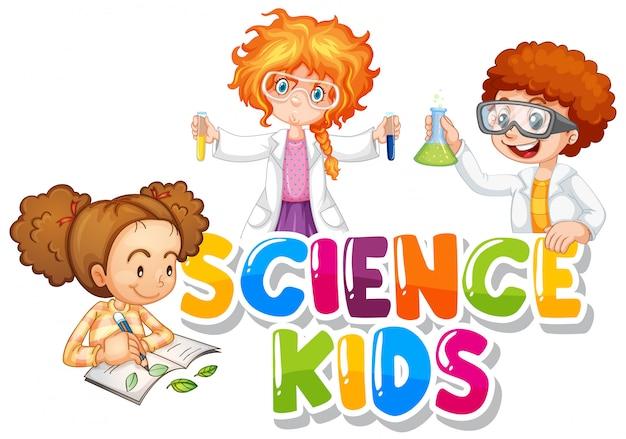 Progettazione di caratteri per bambini di scienze delle parole con tre studenti che lavorano