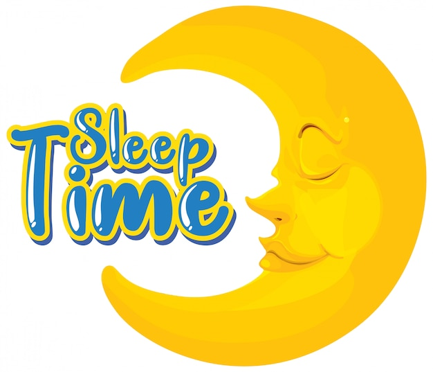 Font design for word sleep time with happy moon
