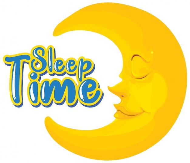 Design dei caratteri per la parola sonno con luna felice