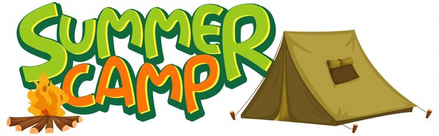 Font design for word summer camp with tent and campfire