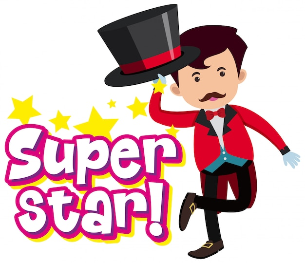 Font design for word superstar with magician in red suit