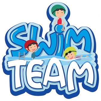 Font design for word swim team with three swimmers