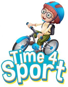 Progettazione di font per il tempo delle parole per lo sport con il ragazzo in sella a una bicicletta