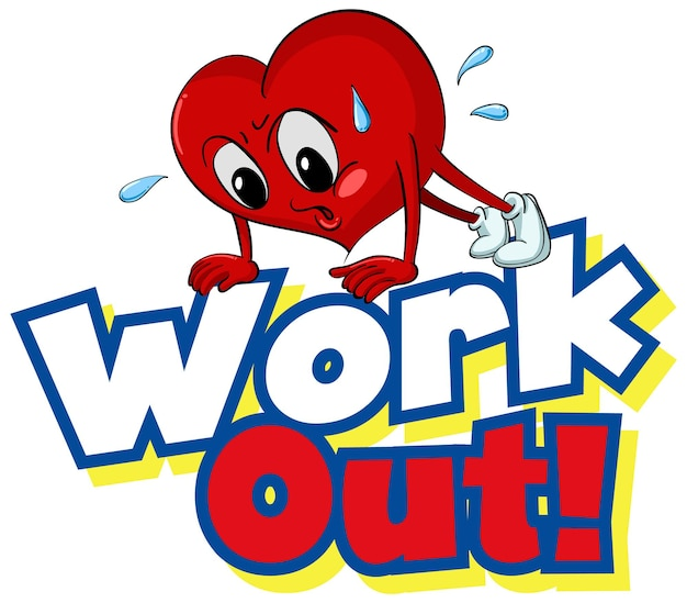 Font design for word work out with heart working out