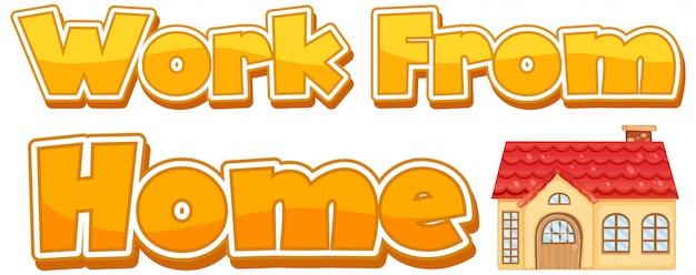 Progettazione di font per il lavoro da casa su sfondo bianco