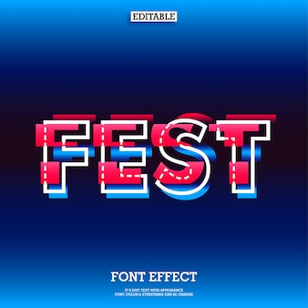 Font effect with glitch effect for modern fest design