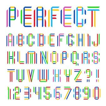 두 개의 다채로운 테이프에서 접힌 글꼴