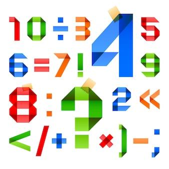 アラビア数字の色紙の形に折りたたまれたフォント