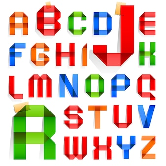 Font folded in the shape of colored paper