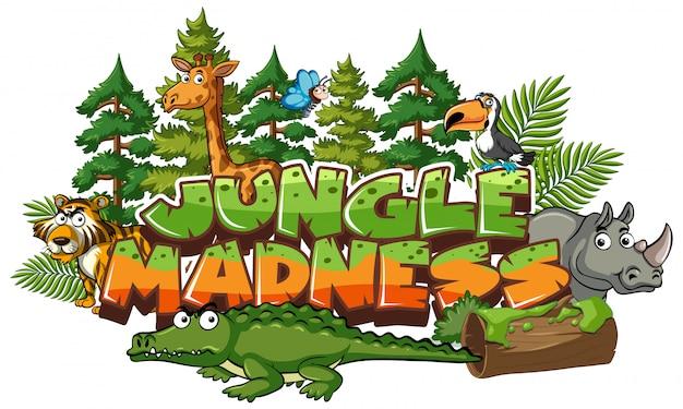 Шрифт слова джунглей безумие со многими дикими животными