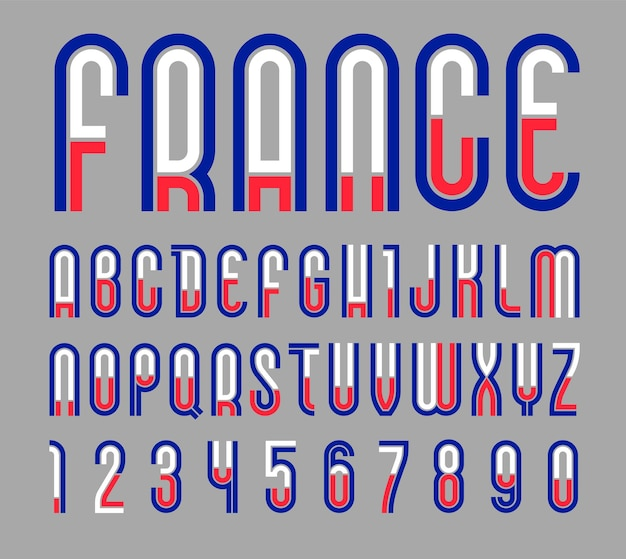 Font france. trendy bright alphabet, colorful letters on a black background.