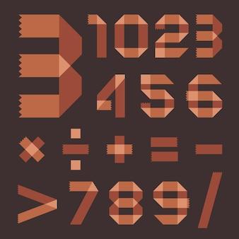 갈색 스카치 테이프로 만든 글꼴 - 아라비아 숫자