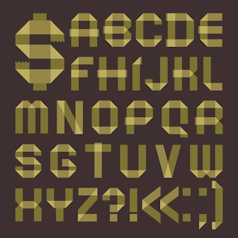 Font from greenish scotch tape