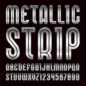Font from metallic strip. trendy alphabet, silver letters