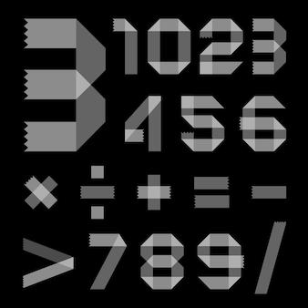 스카치 테이프의 글꼴 - 아라비아 숫자 프리미엄 벡터