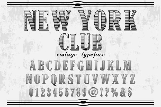 Font handcrafted  new york club