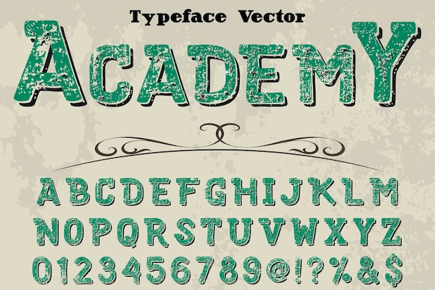 Font handcrafted vector design academy
