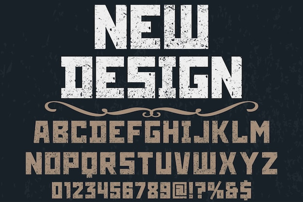 Font handcrafted vector label design