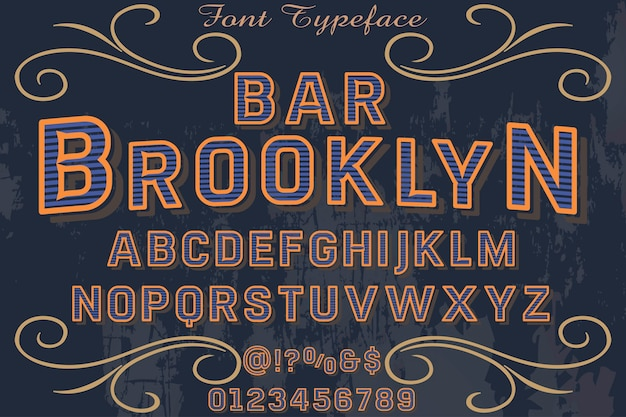 Font handcrafted vector typography font design bar brooklyn