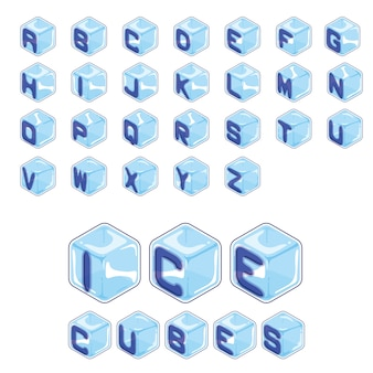 Font ice cubes style on white background