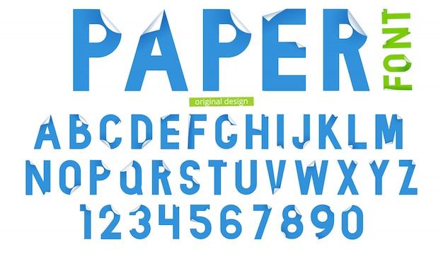 흰색 배경에 종이 아트 스타일에서 글꼴입니다. 조판