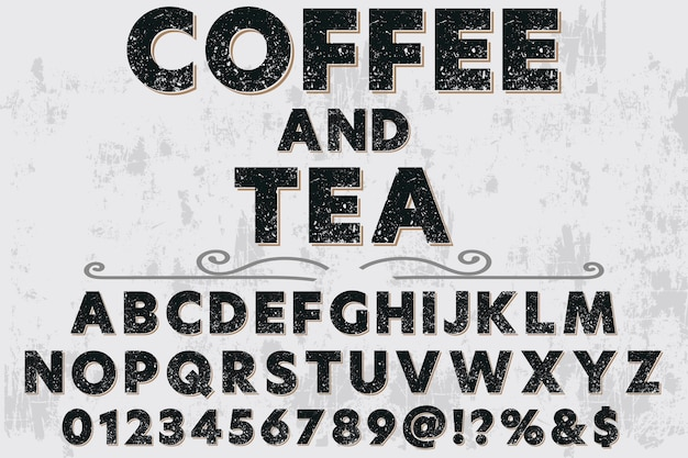 Font label design coffee and tea